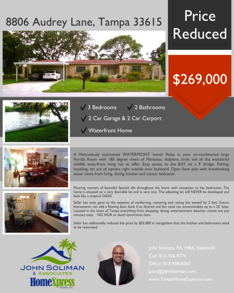 8806 Audrey Lane Tampa FL 33615 Price Reduced!