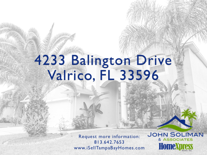 4233 Balington Drive Valrico FL 33596 – Price Reduced!